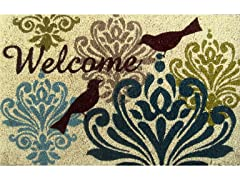 Bird Damask Weather-Resistant Outdoor Coir Doormat