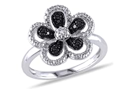 0.03cttw Black and White Diamond Ring
