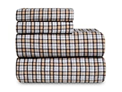 Mini Tan Plaid Flannel Sheet Set-2 Sizes