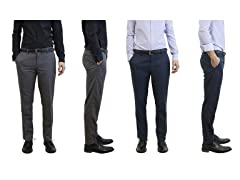 Men's Slim Fit Belted Dress Pants 2-Pack