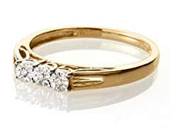 Edgewater Three Stone Diamond Gold Plated Ring
