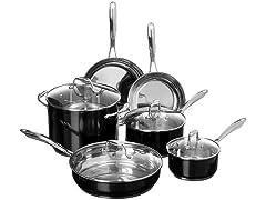 KitchenAid Stainless Steel 10-Piece Cookware Set, Black