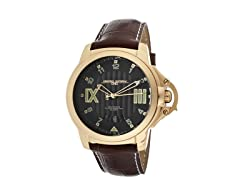 Rose Gold Tone Case Brown Leather Watch
