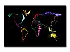 World Map - Thrown Paint Canvas