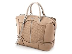 Guess Balin Box Satchel Handbag, Sand