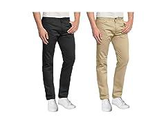 Mens 2PK Stretch 5-Pocket Chino Pants