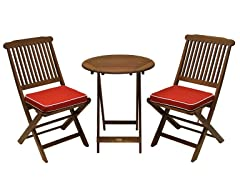 Outdoor Interiors 3pc Bistro Set w/ Red Cushions