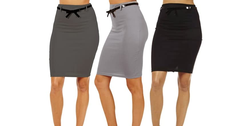 3 pack knee high pencil skirt fashion
