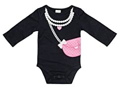 Pearls & Purse - Black (0-3M)