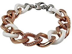 18K Rose Gold Plated Stainless Steel & Ceramic Cuban Link Bracelet w/ Swarovski Crystals