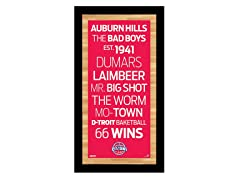 "Detroit Pistons 9.5"" x 19"" Sign"