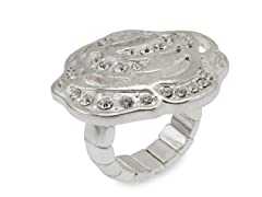 Relic RJ1709040-ONE-SIZE Silver Stretchable Flower Ring