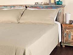 Metro Stripe Quilt Set - Tan - 2 Sizes