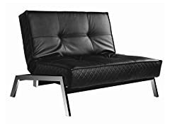 Venezia Black Convertible Euro Sofa Lounger