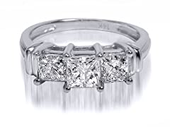 1.00 CTTW 3-Stone Princess Cut Diamond Ring - White Gold