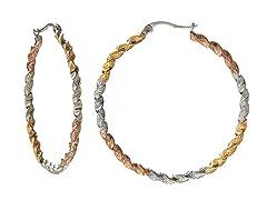 Stainless Steel Polish/Brush 3-Tone Twisted Hoop Earrings