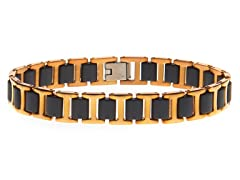 14k Rose Plated Steel & Rubber Bracelet