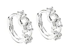 Sterling Silver Tri-Stone Simulated Diamond