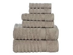 100% Cotton 6-Piece Ribbed Towel Set