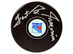 Eddie Giacomin Rangers Signed Puck, Fast