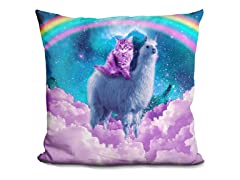 Rainbow Llama and Cat Pillow