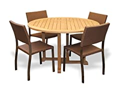 42-Inch Table, 4 Bronze Sidechairs