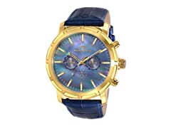 Porsamo Bleu Luxury NYC Genuine Leather Gold Tone Men's Watch