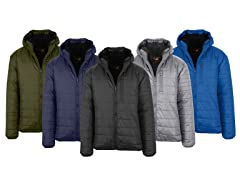 Mens Sherpa-Lined Hooded Puffer Jacket