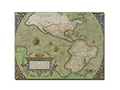 Map of North and South America 1570' Canvas Art- 2 Sizes