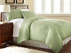Micro Flannel® Duvet Cover Set-Green- 3 Sizes
