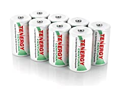 Tenergy Rechargeable C or D Battery 8 Pk