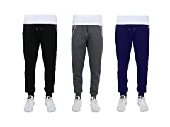 Mens Fleece Jogger Sweatpants W Zipper Pockets 3PK