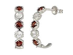 SS Garnet & White Topaz J Hoop Earrings
