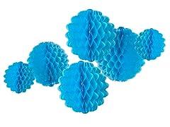 6pk Honeycomb Tissue Poms - Aqua