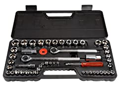 52 Piece 1/4, 3/8 and 1/2 Drive Socket Set SAE and Metric