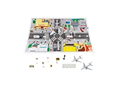 43 Piece Airport Playset with Mat for Pretend Play