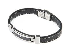 Genuine Black Leather & Black/Steel CZ Bracelet