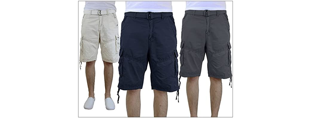 Galaxy by Harvic Men's Belted Vintage Cargo Shorts
