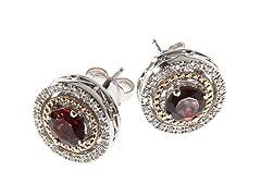 Silver & 14k Gold Garnet Earrings