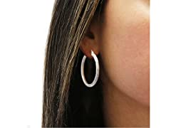 Sterling Silver 35mm Satin Finish Hoops