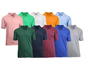 Galaxy by Harvic Men's 5-Pack Pique Polos