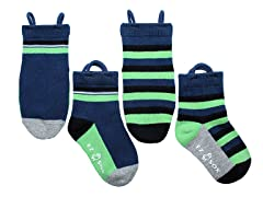 2-Pk Socks - Solids & Stripes