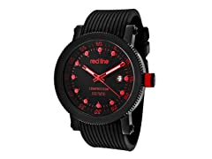 Red/Black Dial with Black Silicone Band