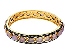 18K Gold-Plated SS Pink Quartz Semi-Precious Gemstone Bangle