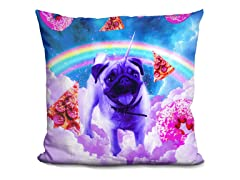 Rainbow Unicorn Pug In The Clouds Pillow