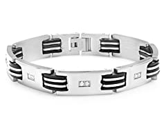 Stainless Steel Link Bracelet w/ Accent