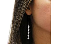 Multi Row Crystal Drop Threader Earrings