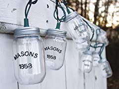 Mason Jar String Lights- 10 Count