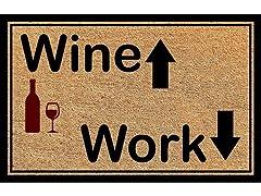 Printed Coir Welcome Mat, Wine & Work