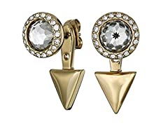 "Rebecca Minkoff ""Core"" Crystal Gold Crystal Front/Back Earrings"